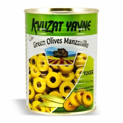 YAVNE GREEN SLICED OLIVES 12/19 OZ