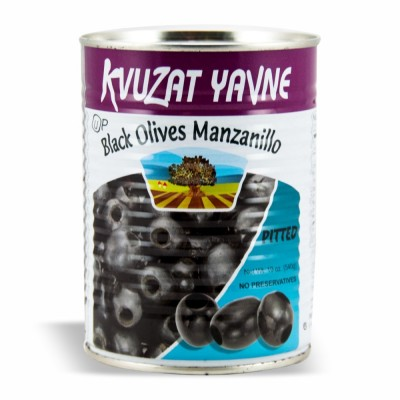 YAVNE BLACK PITTED OLIVES 12/19 OZ