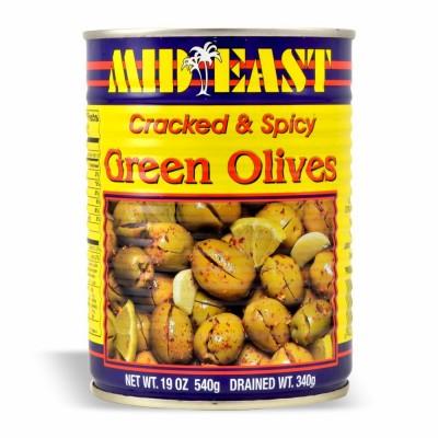 M.E. GREEN CRACKED OLIVE HOT 12/19OZ